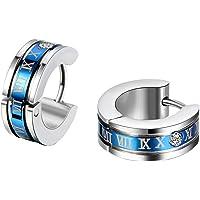 JewelryWe 4mm Orecchini a Cerchio da Donna Uomo in Acciiaio Inossidabile con Numeri Romani Colore Oro/Nero/Blu Scelta…