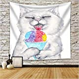 Creative Tapestry, Cat Pattern Printed Tapestry, Wall Decoration, Outdoor Beach Towel Carpet , E , 150*130