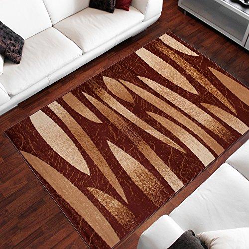 Tapiso Alfombra De Salón Moderna – Color Marrón Diseño Retro Rayas – Varias Dimensiones S-XXXL 120 x 170 cm