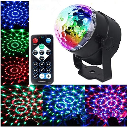 Iiloens Discokugel LED Disco Lichteffekte 7 Farbe Partylicht Bühnenbeleuchtung RGB Bühnenlicht mit Fernbedienung für DJ Disco Kinder Geburtstag Weihnachten Party Hochzeit Bühnenlampen