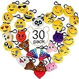 Aiduy Emoji Portachiavi, Mini Pop di Peluche Portachiavi, Portachiavi Decorazioni 6cm - Perfetto Regalo / Pensiero Regalo per Bambini,Per il giorno dei bambini, Natale, compleanni (30pcs)