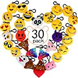 Emoji Keyrings, Aiduy 2'' Stuffed Lovely Plush Pillow Emoji Keychain for Kids, Kids Party Favors Supplies Bag Decorations (30 pack)