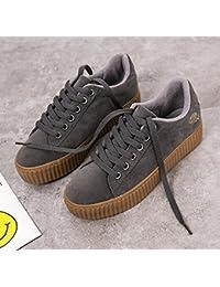 Gris adolescente niñas invierno otoño moda lona baja superior zapatos acogedores ( Color : Gray , Size : 38 )