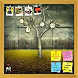 ArtzFolio Clock & Small Mechanical Owls Printed Bulletin Board Notice Pin Board cum Golden Framed Painting 12 x 12inch