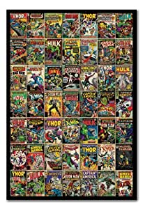 Marvel Comic Covers Poster Black Framed - 96.5 x 66 cms (Approx 38 x 26 inches)