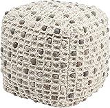 Kare Design Hocker Pebbles Nature, Polsterhocker, Kubus, Sitzhocker, Design Stoffhocker, Beige (H/B/T) 45x45x45cm