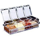 Assaisonnement Box Set 4 pièces Bouteilles Transparentes Sel Spice Jar,Pots à épices Cuisine Condiment Jarres de Stockage de