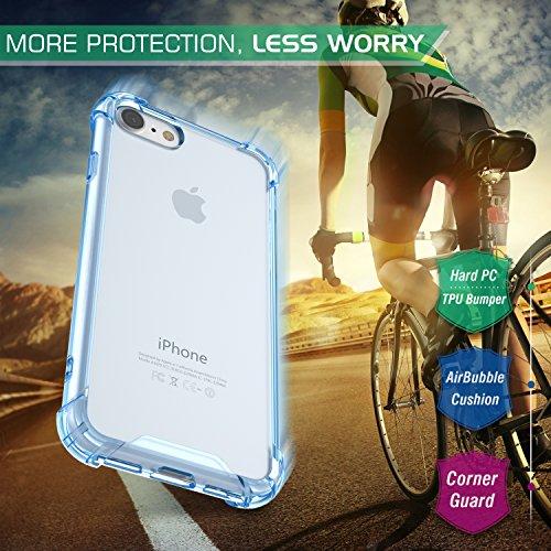 MoKo Hülle für iPhone 8 / 7 - [Kristall Durchsichtig Serie] Ultra Slim TPU Silikon Handyhülle Crystal Clear Phone Bumper Case Schutzhülle Schale für Apple iPhone 8 / 7 4.7 Zoll, Helle Rosa Blau