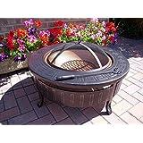 Round Patio Fire Pit Decking Firepit Garden Heater Table Brazier