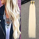 Full Shine 22 Pulgadas 40g 50Strands por Paquete Remy Straight Blonde Extensiones de Cabello Color # 60 0.8g/Strand Pre-Bonde Cold Fushion Keratina Nano Ring Bead Tip Remy Extensiones de Cabello Humano Fashion Hair Extensions