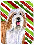 Caroline's Treasures LH9240LCB Bearded Collie Candy Cane Holiday Christmas Glass Cutting Board, Large, Multicolor