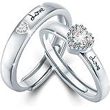 خاتم الازواج للاحباء من كوكا ميراكل، خواتم للثنائيات مصنوعة من الفضة الاسترلينية 925، خواتم وعد ابدي بنهاية مفتوحة قابلة للتع