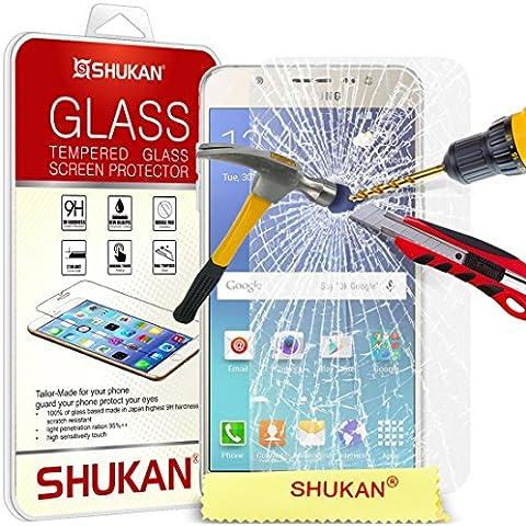 Per Samsung Galaxy J7 2016 - proteggi SHUKAN® premio temperato vetro dello schermo ultra sottile leggero arrotondato bordo 9H durezza con panno di pulizia [TG906 - NDL 6]