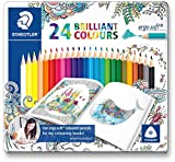 Lápices de colorear triangulares de Staedtler Ergosoft 157 SB12, color Assorted Tin of 24