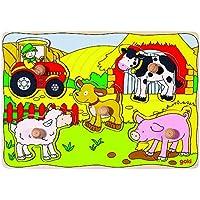 Goki - Puzzle encaje, en la granja, 5 piezas, de madera (Gollnest & Kiesel 57589.0) - Peluches y Puzzles precios baratos