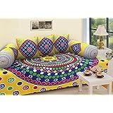 Rajasthanikart Traditional 6 Piece Diwan Set - Cotton - Yellow