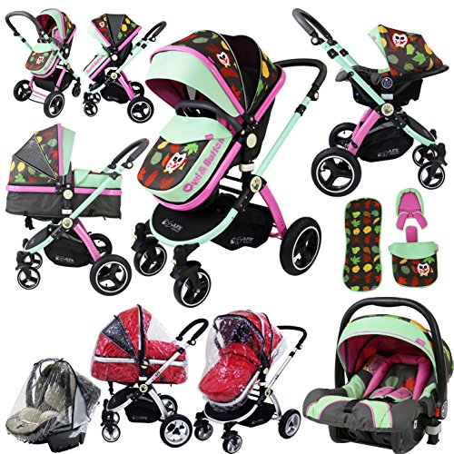 i-Safe System – Owl & Button Trio Travel System Pram & Luxury Stroller 3 in 1 Complete With Car Seat And Rain Covers 611kIkIA3CL