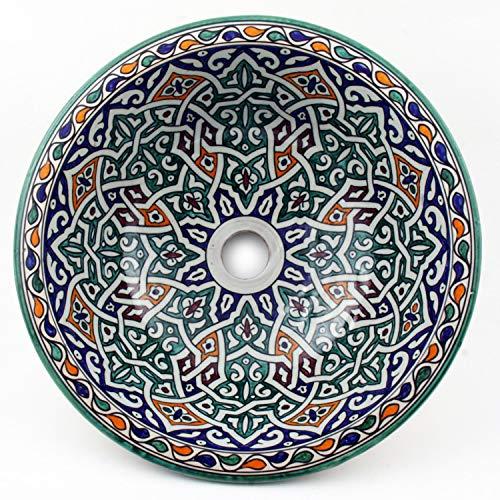 Casa Moro Mediterranes Keramik-Waschbecken Fes54 rund Ø 40 cm bunt H 18 cm handbemalt | Marokkanisches Handwaschbecken für Bad Gäste-WC | Einfach schöner Wohnen | WB40253