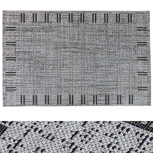 Design Teppich Modern Art | moderne Flachgewebe Teppiche mit Trend Raster Pixel Muster | in 2 Größen für Wohnzimmer, Esszimmer, Schlafzimmer etc. | grau / schwarz 120x170 cm