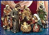 Idea Natale: Presepe natività Sacra Famiglia composto da 3 statue - Maria San Giuseppe Gesù Bambino - H 50 cm