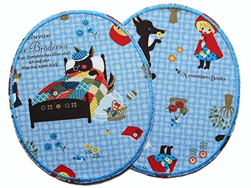 Set 2 Knieflicken Rotkäppchen Bügelflicken für Mädchen