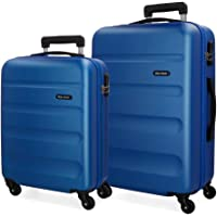 Roll Road Flex Set de Bagages Bleu 55/65 cms Rigide ABS Serrure à combinaison 91L 4 roues Bagage à main
