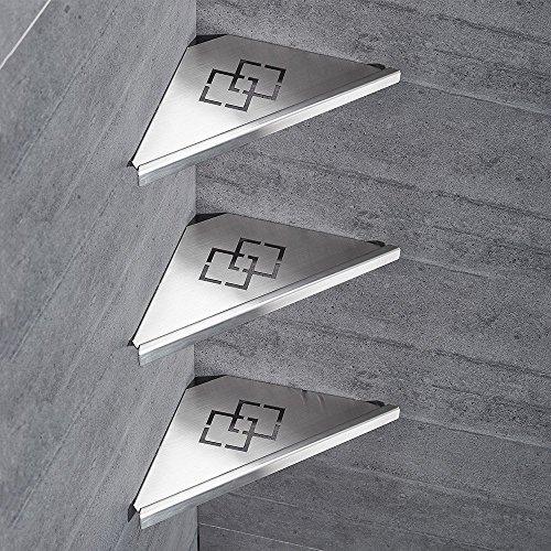Drei-tier-glas Badezimmer Regal (QJONKE Badezimmer Regale Duschwanne Edelstahl 304 Edelstahl 3-Tier Pinsel Nickel zeitgenössische Dreieck Rack Wand Küche Badezimmer)