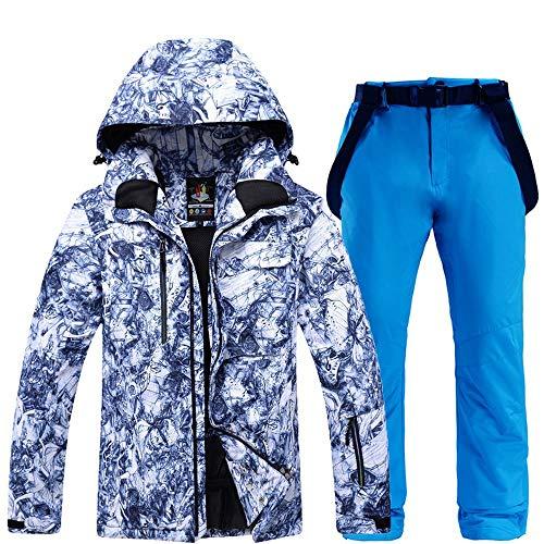 mingliang Tuta da Sci da Uomo Invernali All'aperto Antivento Impermeabili Giacca da Sci Pantaloni Royal Blue-L/XL
