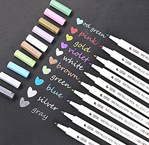 Jansroad Metallic Marker Pens Set For Card Making and DIY Photo Album,Set of 10 Assorted Brilliant Colors Brush Pens for Adults Coloring Books and Kids Doodling Graphic Drawing Manga ,Water Based Ink (Round