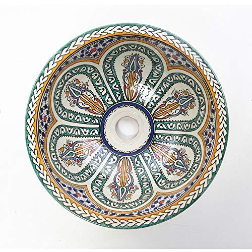 Mediterrane Keramik-Waschbecken Fes87 Ø 35 cm bunt rund Marokkanische Aufsatzwaschbecken handbemalt Handwaschbecken für Küche Badezimmer Gäste-Bad Einfach schöner Wohnen