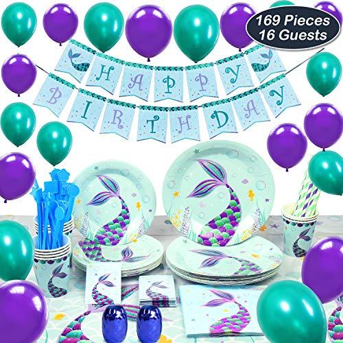 WERNNSAI Meerjungfrau Partyzubehör - Meerjungfraud Party Favors für Mädchen Geburtstag Party Deko Besteckbeutel Tischtuch Servietten Teller Tassen Utensilien Banner & Ballons 16 Gäste 169 Stück