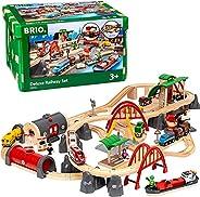 BRIO World 33052 Deluxe Railway Set | Tågset Järnväg Deluxe. 87 delar. Leksakståg med tillbehör och skenor i t