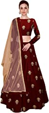 Shree Impex Women's Embroidered Taffeta Silk Semi Stitched Lehenga Choli (Free Size)