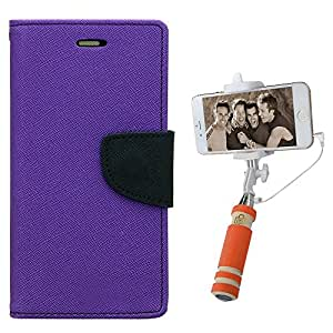 Aart Fancy Diary Card Wallet Flip Case Back Cover For LG G2 - (Purple) + Mini Aux Wired Fashionable Selfie Stick Compatible for all Mobiles Phones By Aart Store