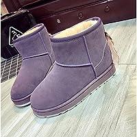 Damenschuhe PU Winter Fell Schnee Stiefel Absatz Round toe booties  Stiefeletten für Casual Braun Violett a655780559