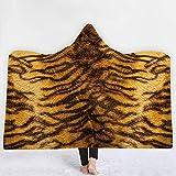 Kuscheldecke Tier Optik Leopard Tiger Wohndecke Decke Kapuzendecke Tagesdecke Schlafdecke Sofadecke für Erwachsene Kinder 7 150x200cm