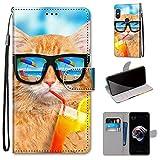Miagon Flip PU Leder Schutzhülle für Xiaomi Redmi Note 5 Pro,Bunt Muster Hülle Brieftasche Case Cover Ständer mit Kartenfächer Trageschlaufe,Limonade Katze -
