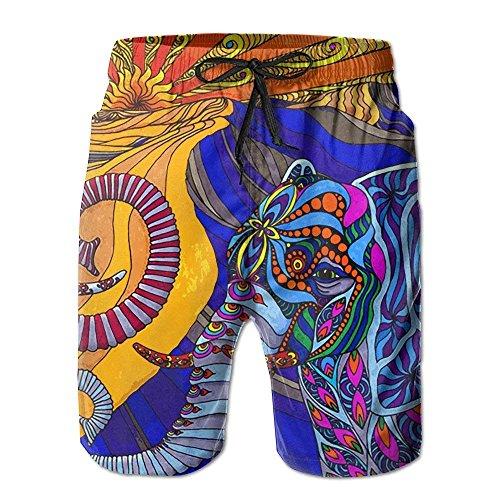 Cherokee Floral Uniform (Boruifushi Elephant Psychedelic Art Beach Shorts Mens Swim Trunks Omni-Dry Board Short with XX-Large)
