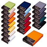 WASSERBETT / BOXSPRINGBETT - SPANNBETTLAKEN - EXTRA HOHER STEG - 100% FEINSTE MAKO-BAUMWOLLE - SEHR GUTE 165 g/m² 140x200 bis 160x220 Farbe 05 orange - SPANNBETTTUCH