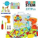 YIJIAOYUN 237 Pezzi Creativo 2D 3D Puzzle Giocattolo con Trapano Elettrico STEM Apprendimento Blocchi Fai-da-Te Giocattolo da Costruzione Set Educativo per Bambini