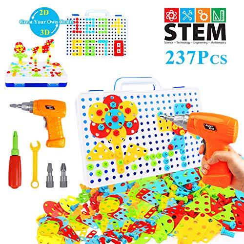 YIJIAOYUN 237 Pezzi Creativo 2D 3D Puzzle Giocattolo con Trapano Elettrico STEM Apprendimento Blocchi Fai da Te Giocattolo da Costruzione Set
