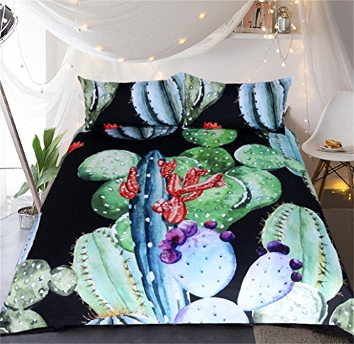 HD-Dreamer 3D Kaktus Bettwäsche Bettbezug Bettlaken Bettdecke Set Polyester 3 Stücke Mit 1*Bettbezug 2* Kissenbezüge, Doppelt Voller Königin König Größe,Full