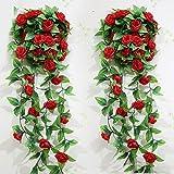 Jingxu 2 Stück Künstliche blumen rattan Décor hängende Dekoration für Hochzeit Party künstliche blumen efeu Girlande Simulation silk Blume rattan Simulation Décor(Rot)