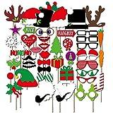 NiceButy 50DIY Kit Stück Photobooth Weihnachten Zubehör Party Hochzeit Geburtstagskarte Foto Booth Dress Up Zubehör Kleidung Partyzubehör auf Stöcke (Photobooth Weihnachten)