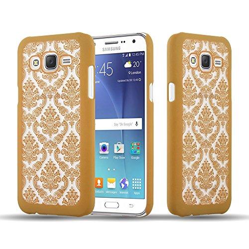 Preisvergleich Produktbild Cadorabo Hülle für Samsung Galaxy J5 2015 (5) - Hülle in Gold – Hardcase Handyhülle im Mandala Design - Schutzhülle Bumper Back Case Cover