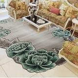 BAGEHUA maßgeschneiderte Türkei Teppich Schlafzimmer Bettwäsche Decke Wohnzimmer Couchtisch Sofa Blumen profilierte Teppich, 800 mm x 1600 mm, 8902 B - Grün