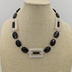 Halsband Silber, Onyx, weißer Achat und Obsidian