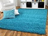 Hochflor Langflor Shaggy Teppich Aloha Türkis Blau - Sofort Lieferbar in 8 Größen