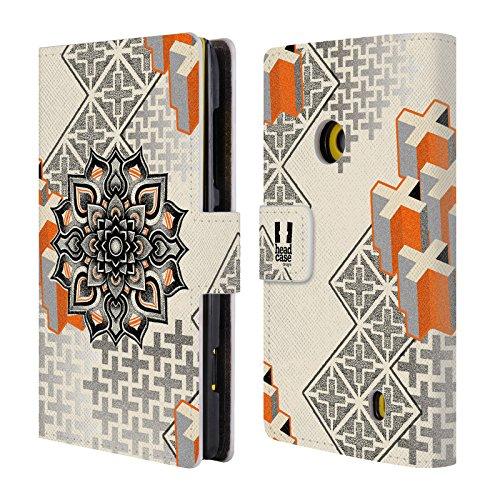 Head Case Designs Mandala E Croce Arte Puntiforme 2 Cover telefono a portafoglio in pelle per Nokia Lumia 520 / 521 / 525 - Croce Cucita Arte
