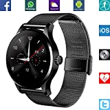 BANAUS B4B B4 Smart Watch Smartwtach with Bluetooth 4.0 Support Heart Rate Monitor for iPhone 6/6S/7/7S/8/8S/X/Xr/XS/Max/Samsung S6/S7/S8/S9/Note5/Note6/Note7/Note8(Black) Black